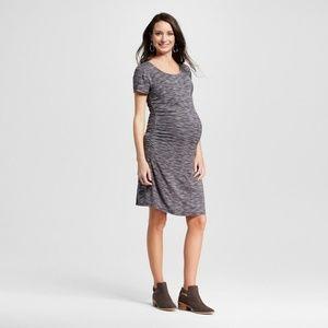 Maternity Body Con Textured Stripe Short Sleeve XS